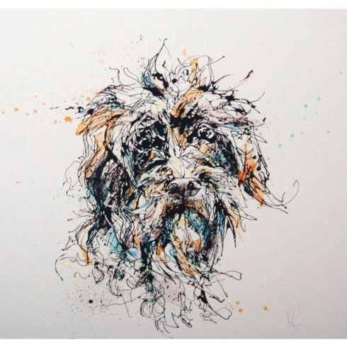 Kathryn Callaghan Artist - 'Slippers' Dog Print